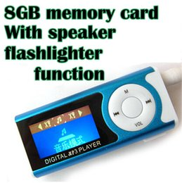 Wholesale AAA MP3 player inch LCD with speaker and flashlight function with clip mp3 GB memory earphone usb cable cord pc up