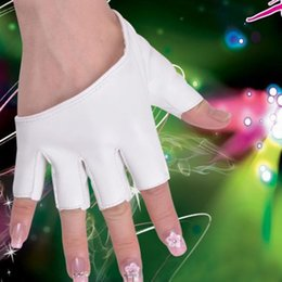 Wholesale-Fashion PU Half Finger Unisex Leather Gloves Lady's Fingerless Show Driving Gloves