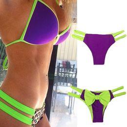 New Swimwear Push Up Womens Swimsuit Bathing Suit Hot Sexy Cute Bow-Knot Bottom Bikini Set Beach Wear biquini SJ15181PU0