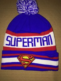 Wholesale Cheap Superman Beanies Hat For Men With Pom Cool Hip Hop Knitted Hat Sport Skullies Warm Women Winter ball Hat