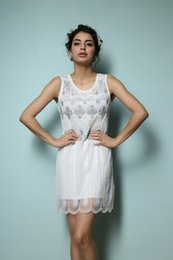 Wholesale NEW GREAT GATSBY s WHITE FLAPPER CHARLESTON SEQUIN DOWNTON ABBEY DRESS