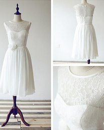 Custom Made A-line Scoop Knee-length Chiffon and Lace Sleeveless Zipper Back Short Bridesmaid Dress