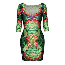 Dame ville à vendre-FG 1509 style été 2015 sexy O-cou de nouvelles femmes de la mode Half 3D Print galaxy / Ville / Lions / QQ expression / Leopard / Swan robes de dame