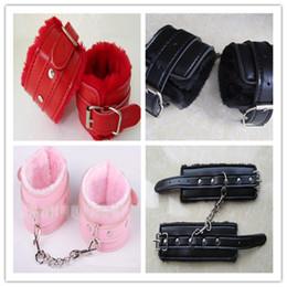 High Quality Leather &Fur Wrist handcuffs ankle-cuffs Bondage Fetish Sex SM Toys
