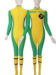 New Style X-men Rogue Spandex Superhero Costume Cosplay Halloween Lycra Spandex Zentai Suit