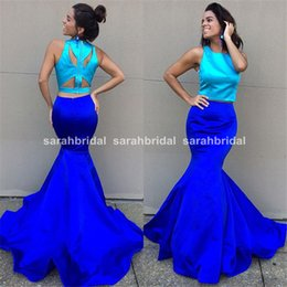 Wholesale Buy Prom Dresses Online Shop New Arrival Two Pieces Turquoise Crop Top and Royal Blue Trumpet Mermaid Skirt Color Block Formal Gowns