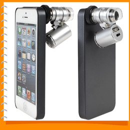 Wholesale-Dual-purpose Mobile Cell phone Case Protective Back Cover with 60X Zoom Mini Microscope Magnifier for iPhone 5   5S