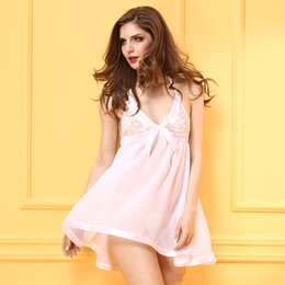 2017 New Hot Sale Sexy Women Sleepwear,White Comfortable Hollow Translucent Underwear,Two-piece Suit:Dress And Thong,Sexy Lingerie Set