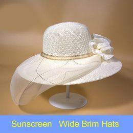 Wholesale LMQ New Fashion Wide Brim Beach hat Women Church Wedding Bridal Kentucky Derby Summer Wide Brim Hat Organza Female