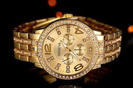 Wholesale Geneva Stainless Steel Watch Fashion Metal Quartz wrist watches for Men Women Unisex luxury watches Geneva Crystal Watches Gold watches pc