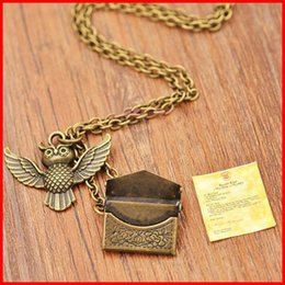 Wholesale 2016 Harry potter necklaces owl acceptance letter admission notice envelope locket necklace for me women movie jewelry
