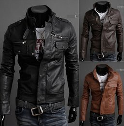 Wholesale Mens Stand Collar Leather Jackets Autumn New Men s Leather Jacket Locomotive Style Men s Slim Fit Leather Clothing Black Brown
