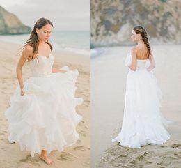 Simple Beach Wedding Dresses Sweetheart Strapless Lace Top Chiffon Skirt Ruffles Flouncing Bridal Dress Zipper Back 2016 Spring Gowns