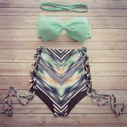 Wholesale Reversible bandeau bikini set biquini swimsuit bikinis women swimwear trajes de bano Print Bathing Suit maillot de bain femme