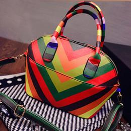 Wholesale-2015 new colorful patchwork shell bag women pu leather handbags fashoin European and American Style handbag women messenger bags