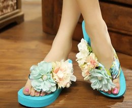 Wholesale 2015 Women s Handmade Colorful Flower Sandals Flip Flops Slippers Trifle Beach Slippers Colors