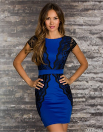 Wholesale good Quality Blue Red White ladies dress Short Sleeve backless O Neck Sheath Patckwork Bodycon Mini sexy Lace Dresses Women S XL Best Price