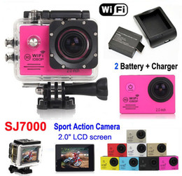 Wholesale SJ7000 Full HD P Waterproof Action Camera WIFI Sports Camcorder Extra battery Charger quot LCD Diving Helmet Camera DVR