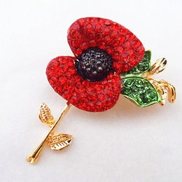 High Quality Gold Plated Bright Austria Red Crystal Poppy Flower Brooch With Green Leaf B728 UK Fashion Poppy Brooch Pins