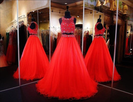2018 Latest Two Piece Evening Prom Dresses Scoop Neck Orange Beaded Crystals A-line Tulle Evening Gowns