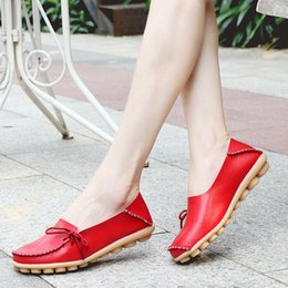 Woman Summer 2017 Casual Shoes Women Flat Heel Cow Muscle Outsole Flat 21 colors Plus Size Lace-Up Women Genuine Leather Shoes