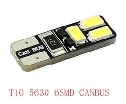 Free shipping 10PCS lot Car Auto LED T10 194 W5W Canbus 6 smd 5630 5730 LED Light Bulb No error led light