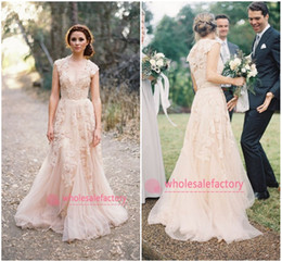 Cheap 2017 Blush Champagne V Neck Lace Wedding Dresses Reem Acra Puffy A Line Bridal Gowns Vintage Country Garden Wedding Dresses BO6089