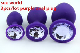 3PCS Lot S  M  L Size Purple Silicone Plugs Anal Plug Anal Sex Toys +Crystal Jewelry Fetish Anal Plug For Adults Game+Cloth Bag