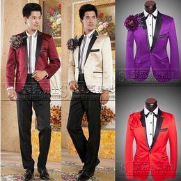 Purple Men Suit 2016 Wedding Prom Stage Costums Performance Singer DJ Host Mens Suits Pants Traje Hombre Sequin Placket Blazer