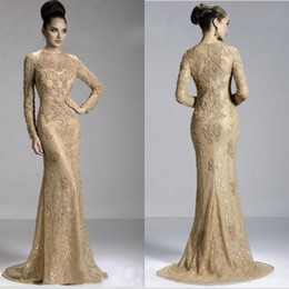 Gold Sexy Long Sleeve Jewel Evening Dress Zipper Sweep Train Formal Dresses With Appliques Arabic Dress Lace