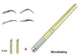 Golden Tebori Pen Microblading Pen Tattoo Machine for Permanent Makeup Eyebrow Tattoo Manual Pen 2Pcs Needle Blade Microblading