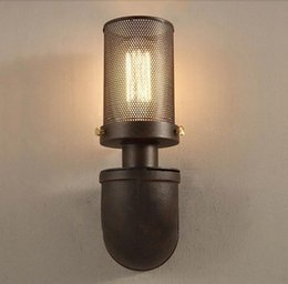 Retro American Country Iron Art Wall Light RH Loft Antique Color Wall Sconce E27 Edison Lighting Outdoor Indoor Industrial Lamp