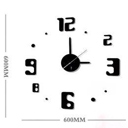 2017 NEW DESIGN 3D big size simple wall clock Acrylic watch DIY brief living room decor meeting room wall clock