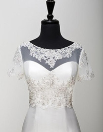 Bridal Jackets Boleros Real Pictures Short Sleeves 2015 Accessories Bridal Shawl Wrap Bolero Jacket Wedding Dress Lace Beaded