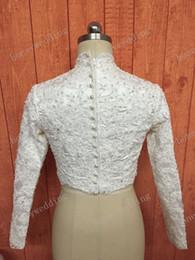 Spring Fall High Neck Lace And Pearls Beaded Bridal Jacket Bolero Luxury Long Sleeve Wedding Party Bride dress Jackets White Ivory Coat