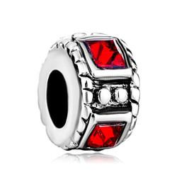 Fashion women jewelry European spacer beads square crystal metal bead loose charms fits Pandora charm bracelet
