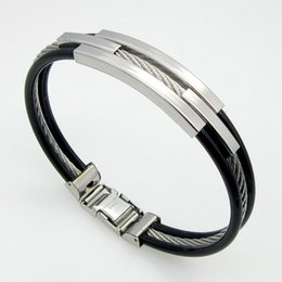 Wholesale Fashion Silver L Stainless Steel Cable Lines Triple Layer Bracelets Leather Bracelets for Men SB01502