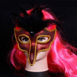 Wholesale Night Club Sexy Eagle Face Princess Mask Half Face Sequins Decor Venice Lace Masquerade Party Mask Halloween Beauty Supplies SD405