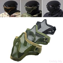 Wholesale BB Bomb Game Mask Half Face Metal Mesh Protective Mask with Double Belt Air soft Paintball Resistant Men s mask