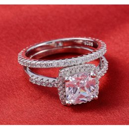 Fashion Jewelry Rings Real 925 Sterling Silver Ring Set Pair Wedding Engagement CZ Diamond Zircon the Rings for Women T01090