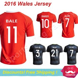 Wholesale 2016 Wales soccer jersey football shirts GARETH BALE AARON RAMSEY uniform camiseta Wales survetement