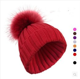 Wholesale-Pom Size 14-15cm Ladies Winter Warm Boble Custom Knitted Pom Beanie Hat With Real Fox Raccoon Fur Pom Poms Ball Women