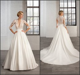 Wholesale 2016 A Line Satin Wedding Dresses Long Sleeve Sheer Deep V Neck Appliques Cosmobella Court Train Ruched Band Bridal Gowns