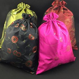 Wholesale Satin Red Gift Bags - Sequin Cloth Craft Drawstring Dust Bag for Shoes Travel Storage Bags Protective Cover Decor High End Reusable Satin Gift Packaging Pouch