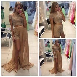 Wholesale 2016 New Khaki Three Pieces Prom Dresses A Line Beading Short Pants Detachable Skirt Formal Party Gowns