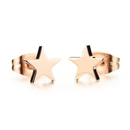 Woman cute Star Stud Earring Fashion 316L Stainless Steel Rose Gold earring Women Jewelry High Quality