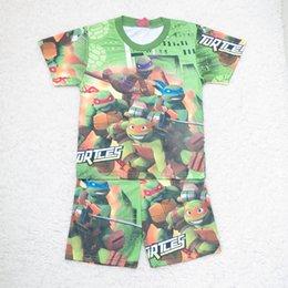 Wholesale Ninja Turtles T Big Size Children Cartoon Pajamas Cartoon Printed Cotton Homewear summer sleepwear boy t shirt Pants Pajamas suit C001