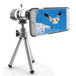 Wholesale-12X Optical Zoom Telescope Camera LENS Tripod Cover Case For iPhone 6S plus 5.5 Tripod Back Case Cover Phone 12X Zoom Lens