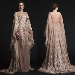Arabic Dresses Eening Gowns Krikor Jabotian See-through Backless Prom Dress Appliques Beaded Wraped Vestidos Luxurious Celebrity Party Dress