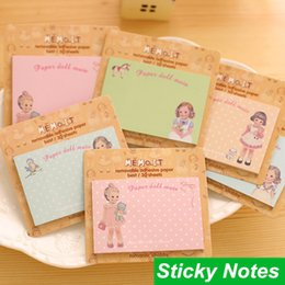 Wholesale 60 Post it sticky notes Paper doll mate Removable adhesive paper Gift cute stationery material School supplies